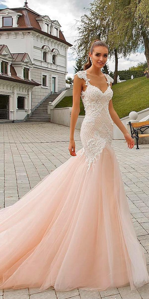 lace blush mermaid with illusion sweetheart and sleeves with train crystal design wedding dresses