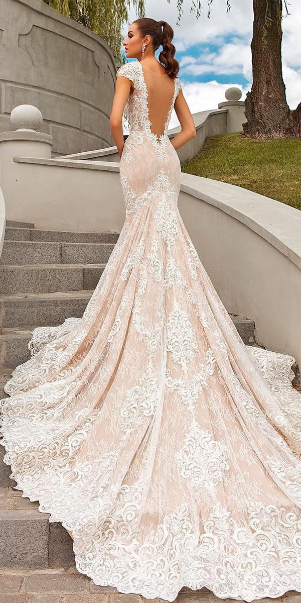 lace mermaid with deep v back and cap sleeves with train crystal design wedding dresses