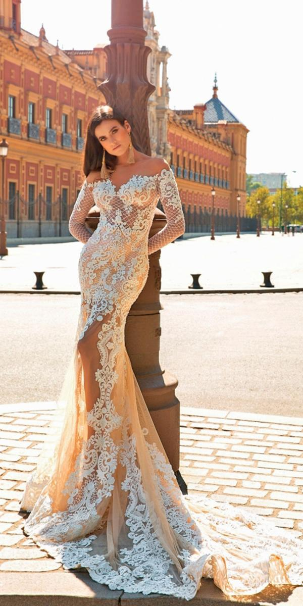 lace mermaid with sweetheart neckline and off shoulder sleeves with train crystal design wedding dresses