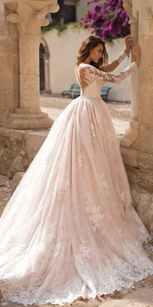 lace wedding dresses ball gown illusion top back blush lussano bridal
