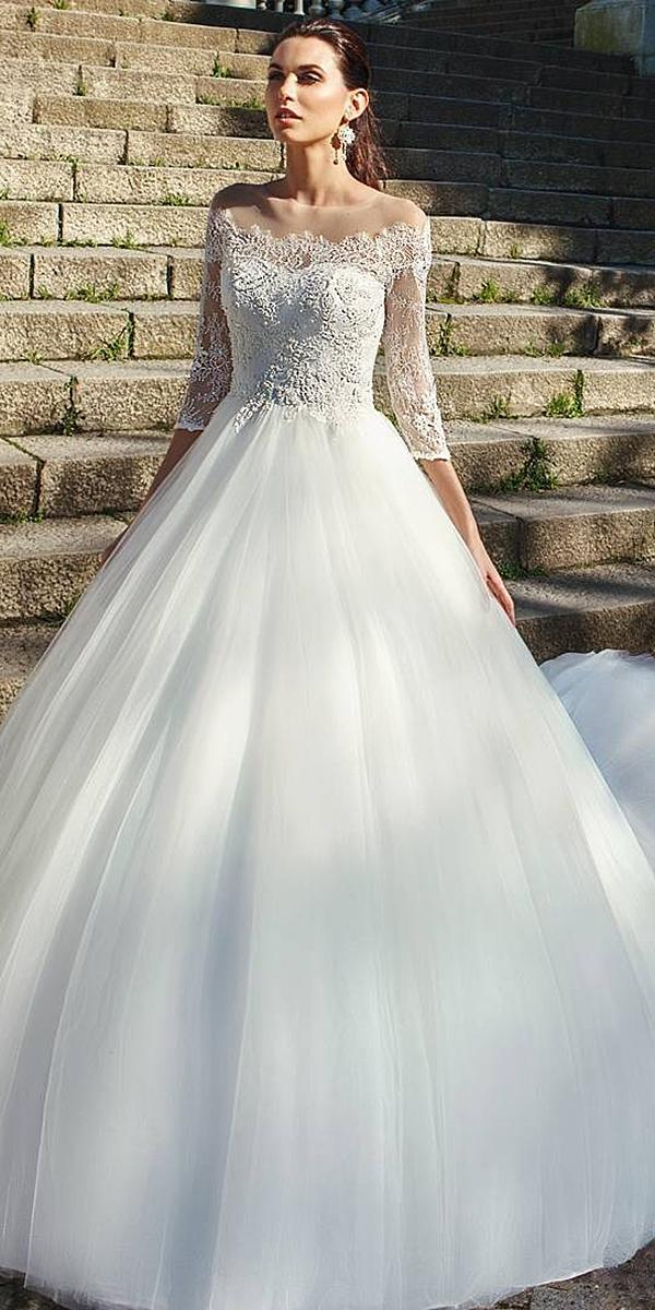 lace wedding dresses with three quate sleeves open back maggie sottero