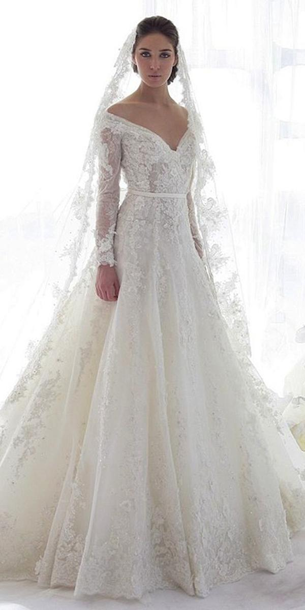 lace wedding dresses deep v neckline a line gown ziad nakad