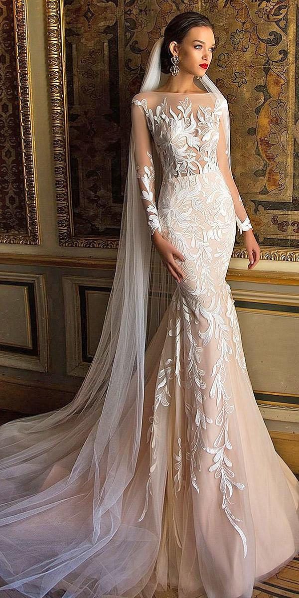 lace wedding dresses with floral illusion sleeves mermaid sexy milla nova