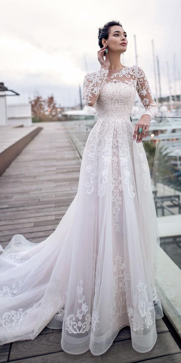lace wedding dresses with long sleeves a line with train nora naviano