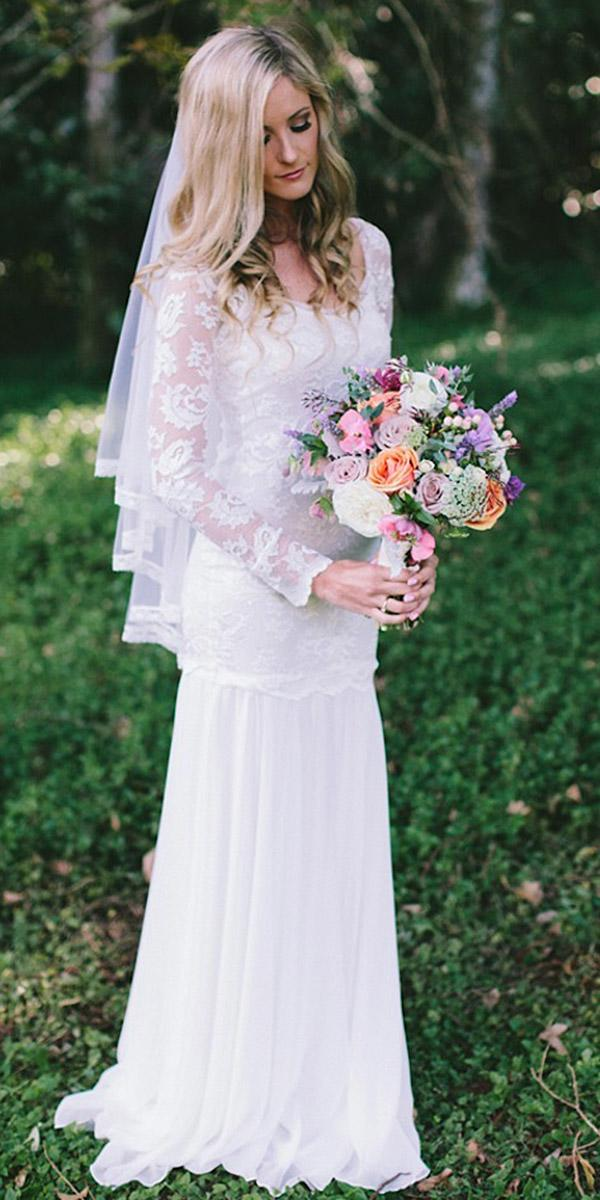lace wedding dresses with long sleeves bohemian white loves lace