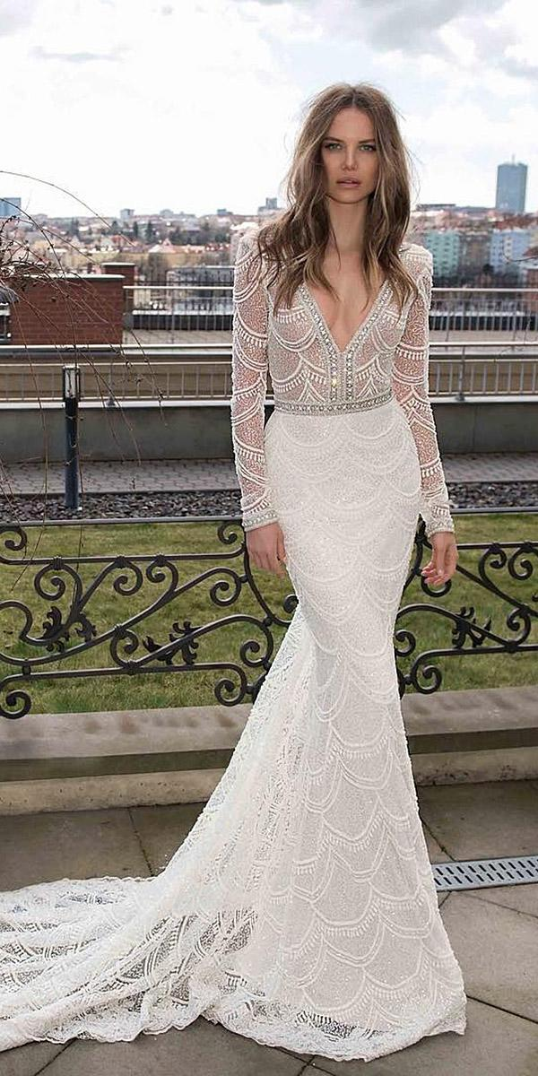lace wedding dresses with long sleeves mermaid deep v neckline berta