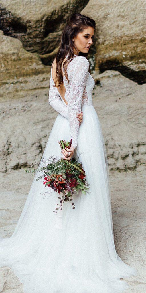 lace wedding dresses with sleeves a line v back daalarna couture