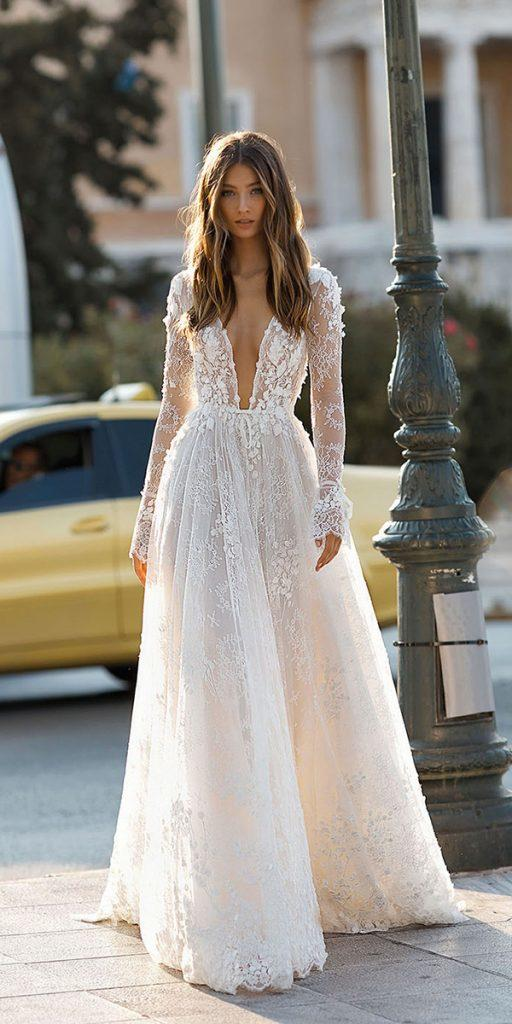 lace wedding dresses with sleeves a line with deep v neckline berta