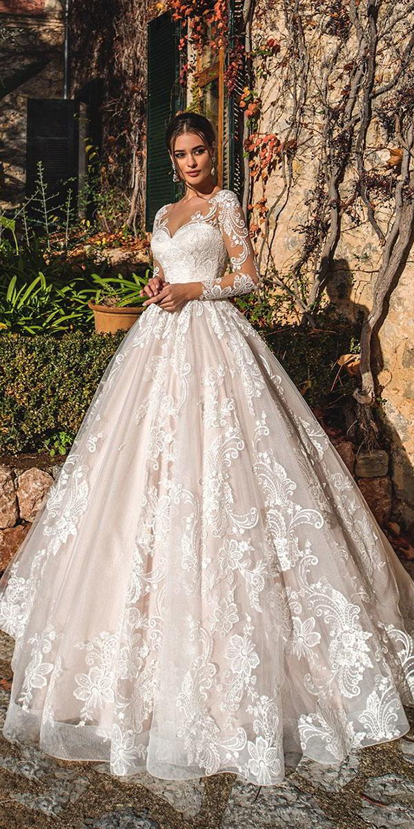 lace wedding dresses with sleeves back gown sweetheart luxury nora naviano