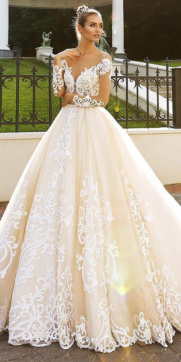 lace wedding dresses cap sleeves a line gown floral tatto berta