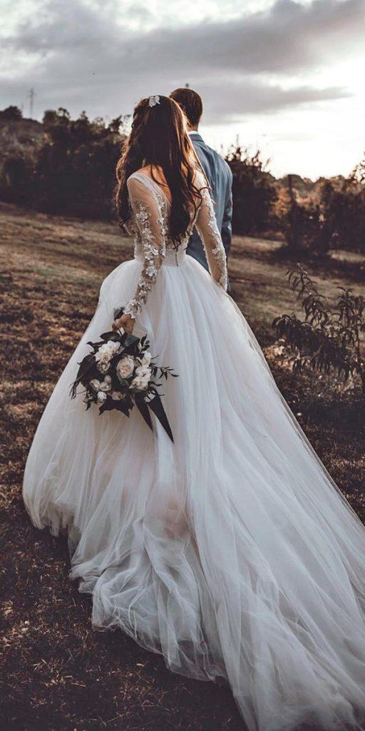 lace wedding dresses with sleeves ball gown illuison top tali photography