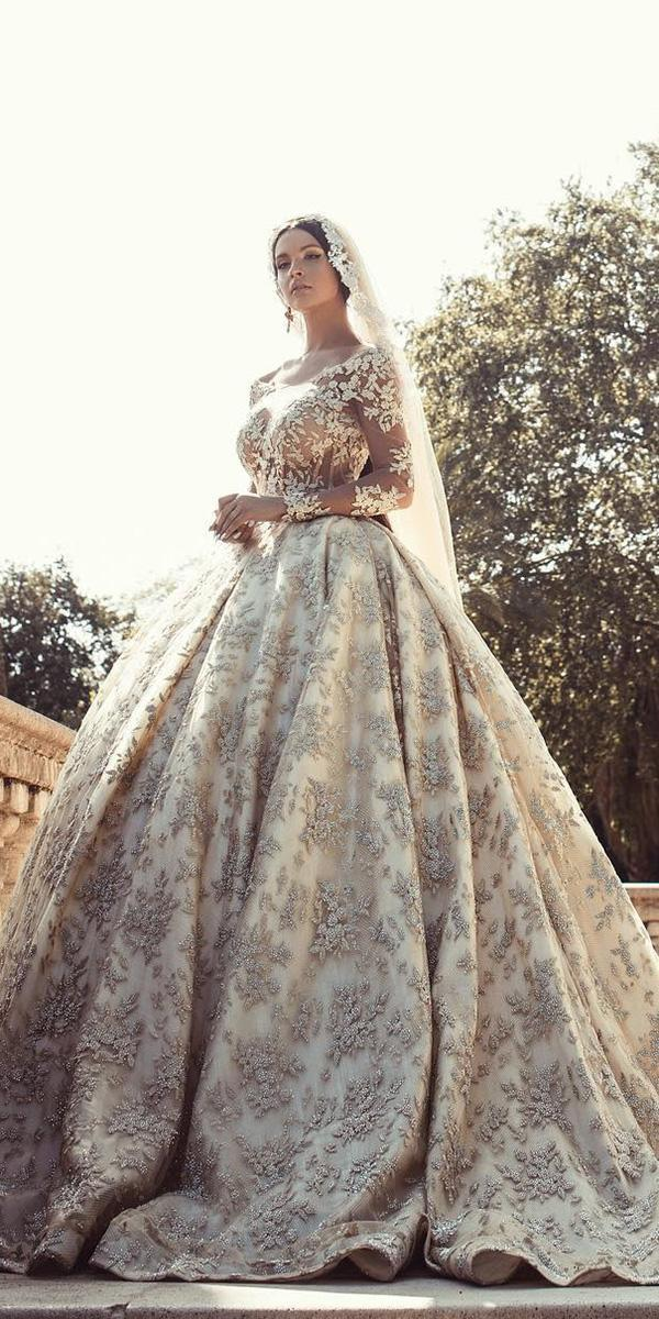 lace wedding dresses with sleeves ball gown illusion neckline floral embellishment endrit mertiri
