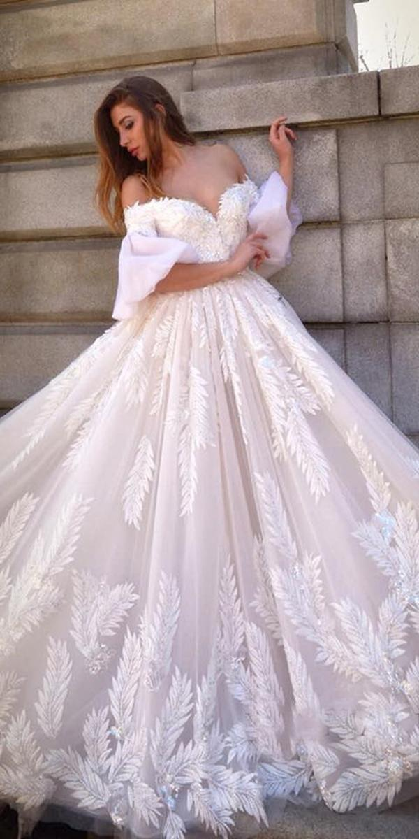lace wedding dresses with sleeves ball gown off the shoulder sweetheart luxury ysa makino