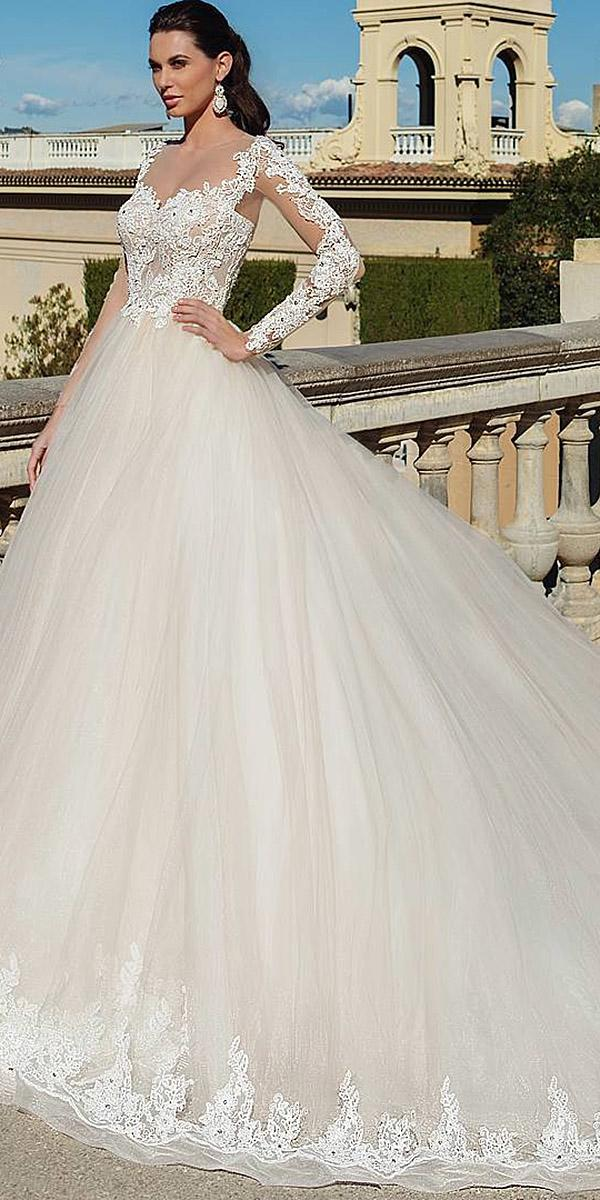 lace wedding dresses with sleeves ball gown white ricca sposa