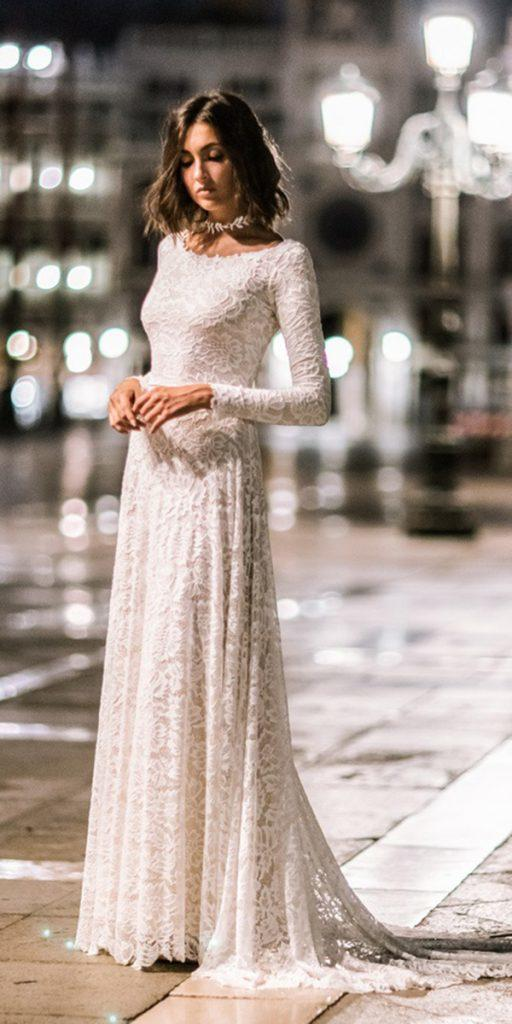 lace wedding dresses with sleeves long a line floral embellishment wear your lovexo