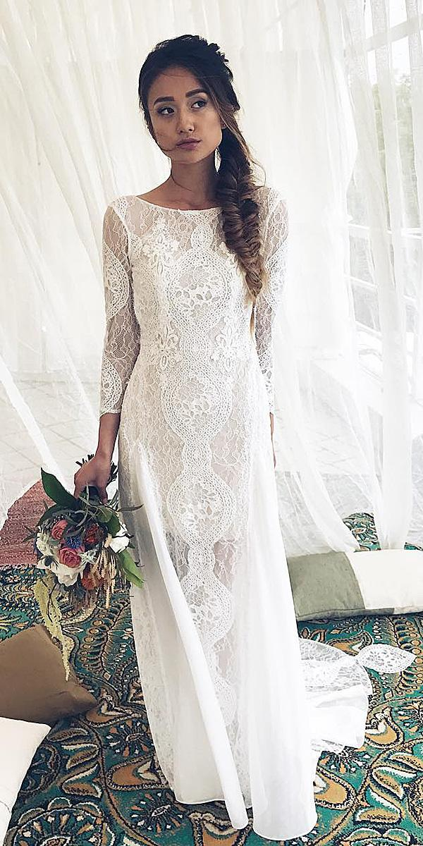 lace wedding dresses with sleeves long boho beach lace marryme bridal