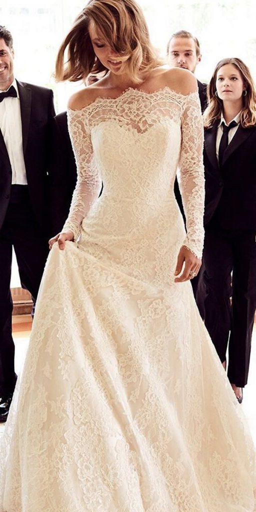 lace wedding dresses with sleeves long off the shoulder justin alexander