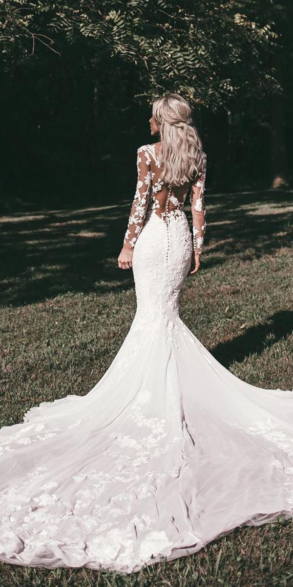 lace wedding dresses with sleeves mermaid floral illusion back sexy pronovias