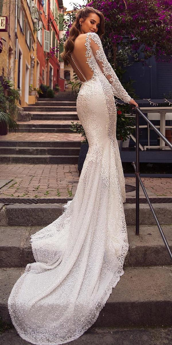 lace wedding dresses with sleeves mermaid illusion back with train viero bridal