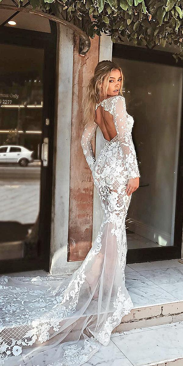 lace wedding dresses with sleeves mermaid open back floral lace pallas couture