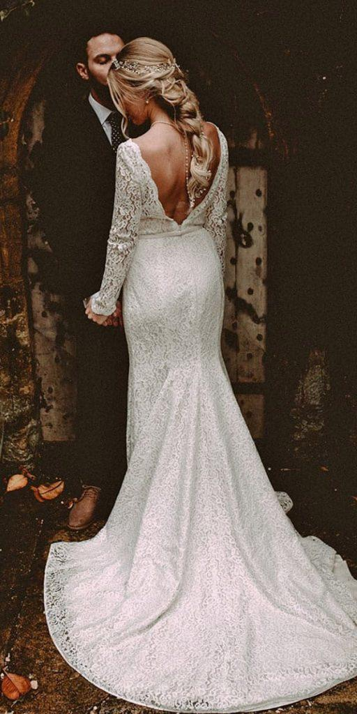 lace wedding dresses with sleeves mermaid v back with train mikaella bridal