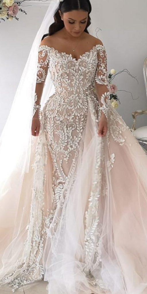 lace wedding dresses with sleeves off the shoulder with overskirt blush steven khalil