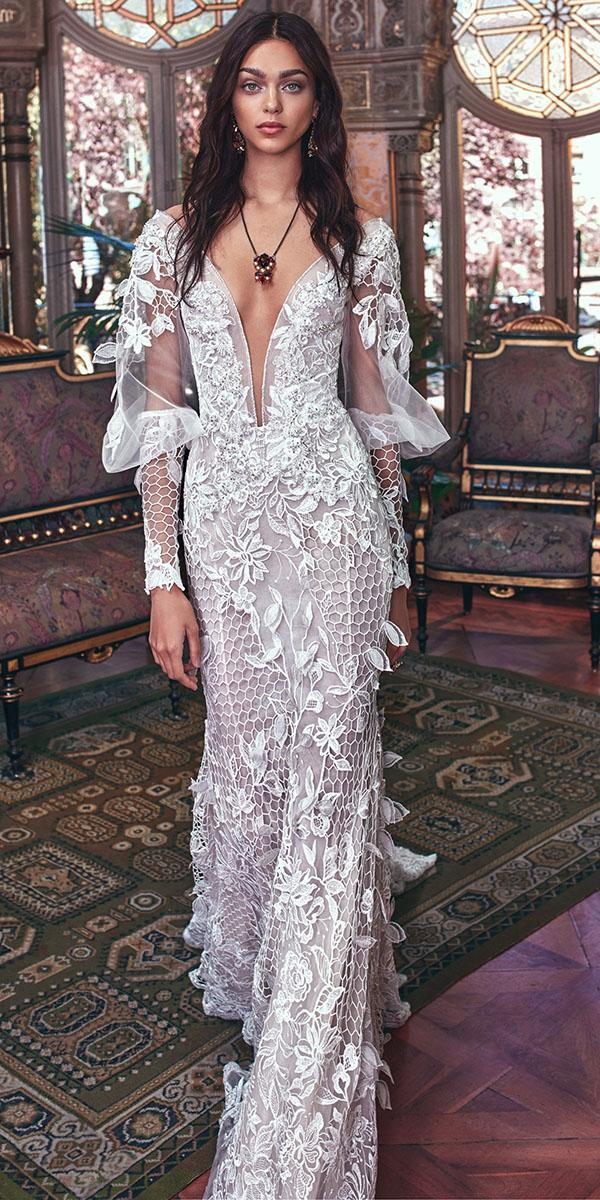 lace wedding dresses with sleeves sheath deep v neckline floral appliques galia lahav