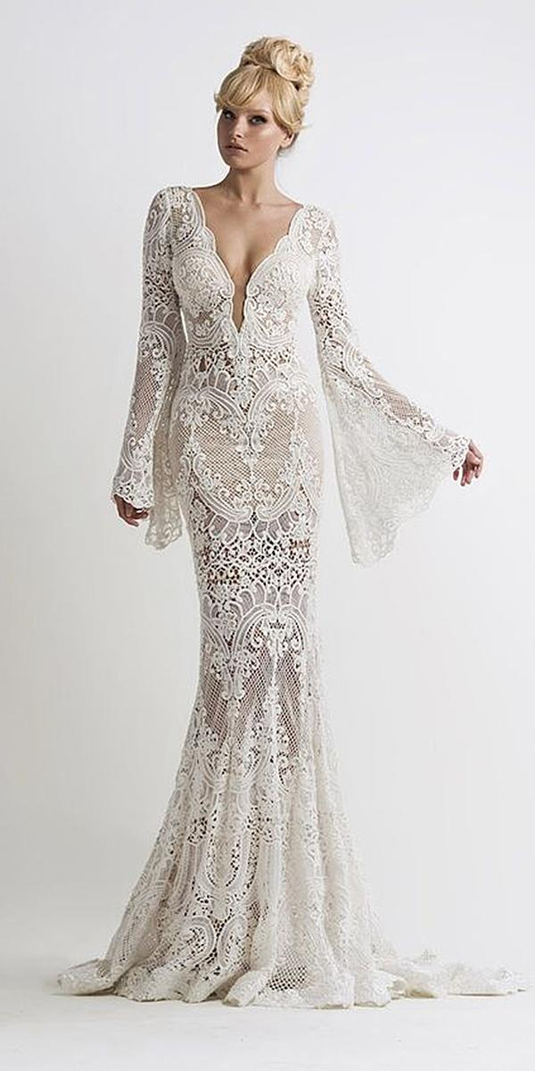lace wedding dresses with sleeves sheath deep v neckline full lace oved cohen