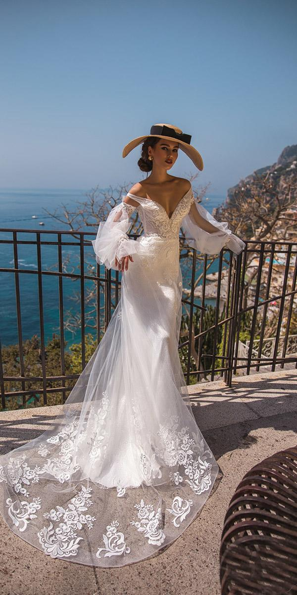 lace wedding dresses with sleeves sheath off the shoulder 2019 la petra