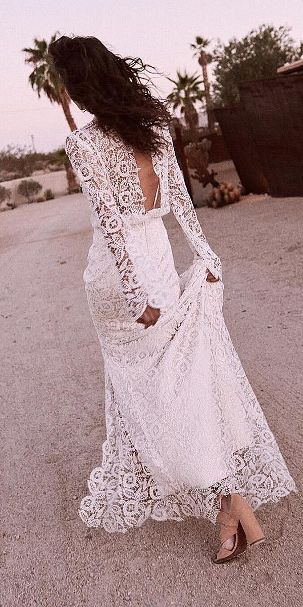 lace wedding dresses with sleeves sheath open back full lace laudae bride