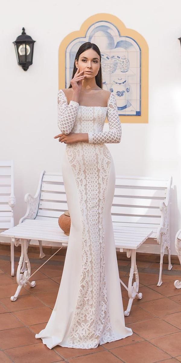 lace wedding dresses with trumpet neckline oksana mukha