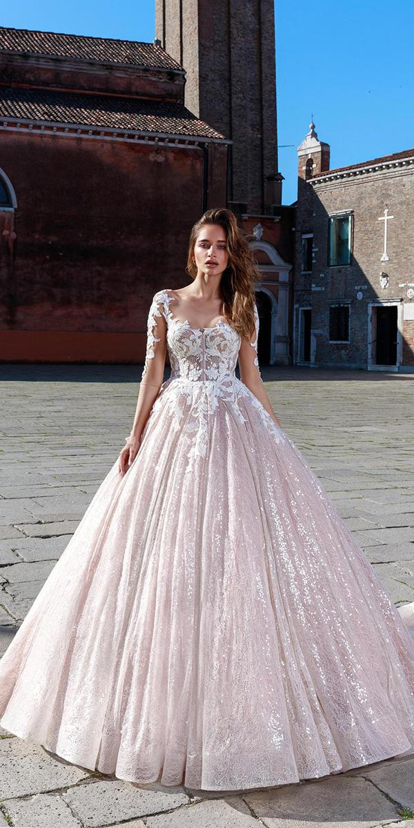 lace wedding dresses with three quote sleeves ball gown illusion neckline rica sposa