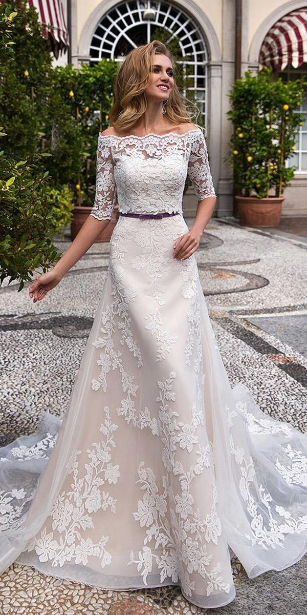 lace wedding dresses with three quote sleeves sheath lussano bridal