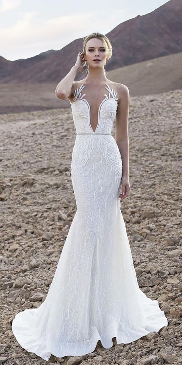 lian rokman wedding dresses mermaid sleevesless deep v neckline strapless lace floral embellishment