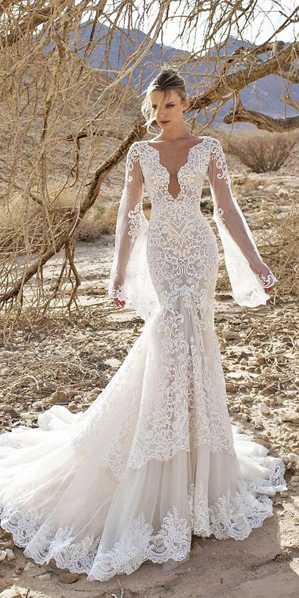 lian rokman wedding dresses mermaid with long sleeves deep v neckline lace embellishment