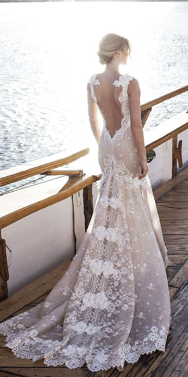 lian rokman wedding dresses v back floral embroidered sexy blush
