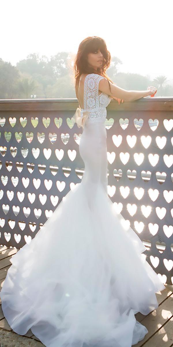 mermaid boho lace open back with short sleeves beach wedding zahavit tshuba
