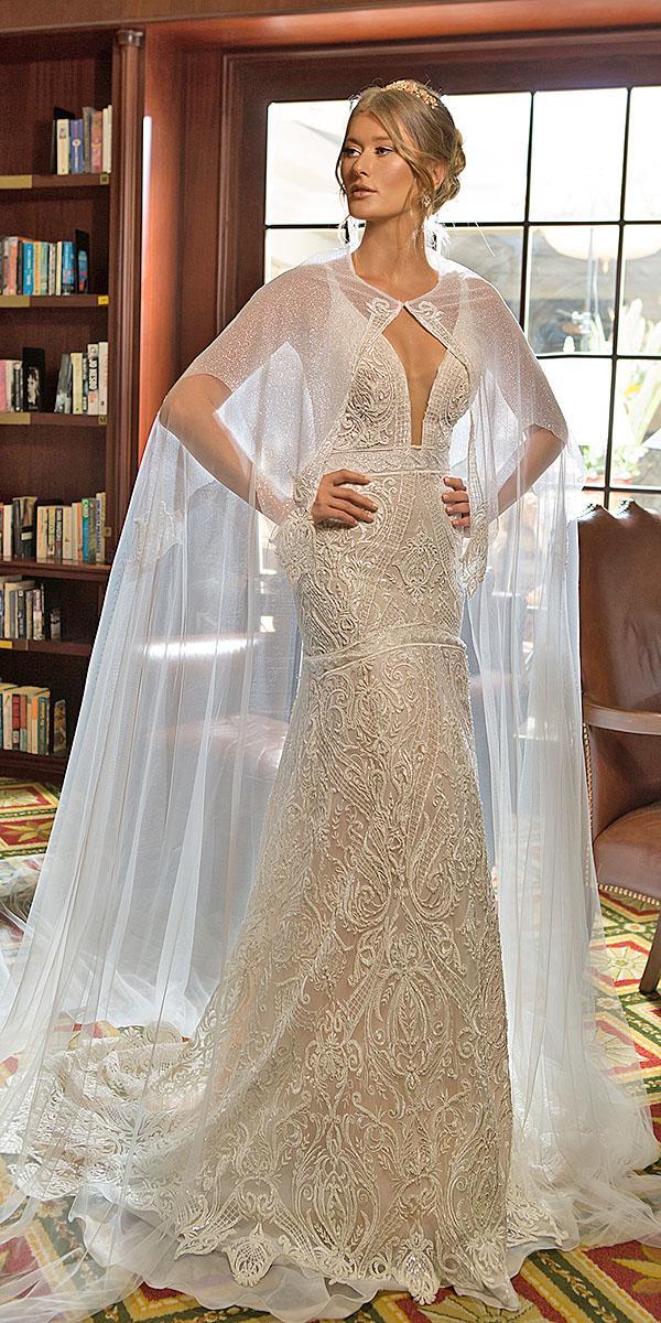 naama and anat bridal wedding dresses deep v neckline capes full lace