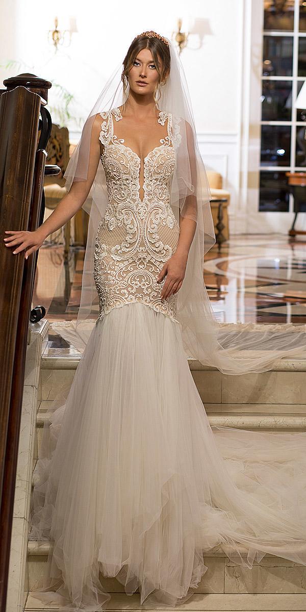 naama and anat bridal wedding dresses mermaid deep v neckline lace blush
