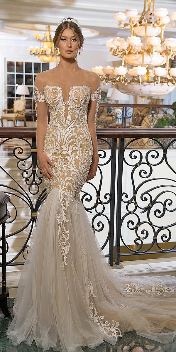 naama and anat bridal wedding dresses mermaid sweetheart blush lace with train