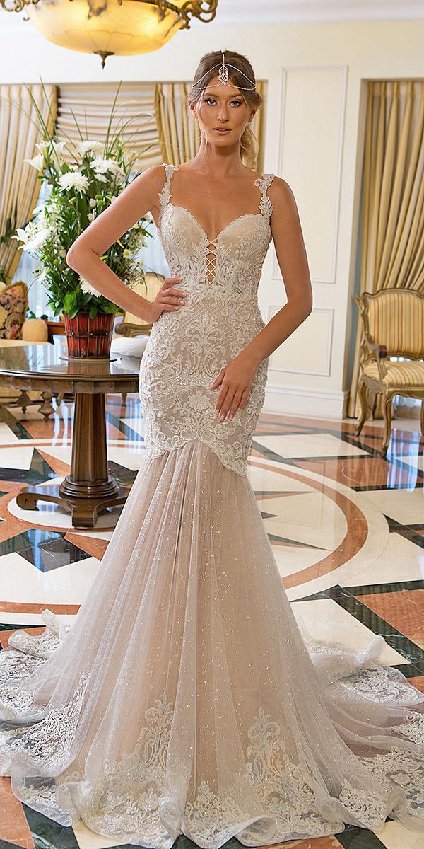 naama and anat bridal wedding dresses mermaid sweetheart lace embellishment