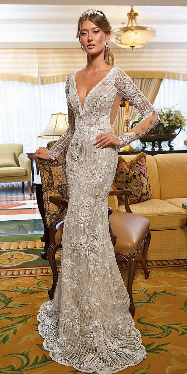 naama and anat bridal wedding dresses sheath deep v neckline with long sleeves floral appliques