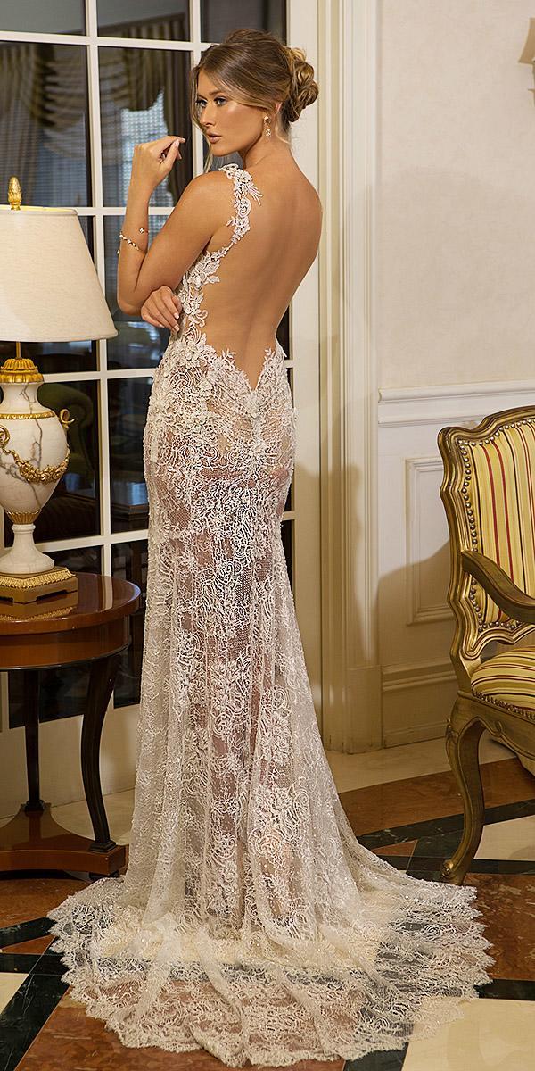 naama anat bridal wedding dresses sheath low back full lace sleeveless