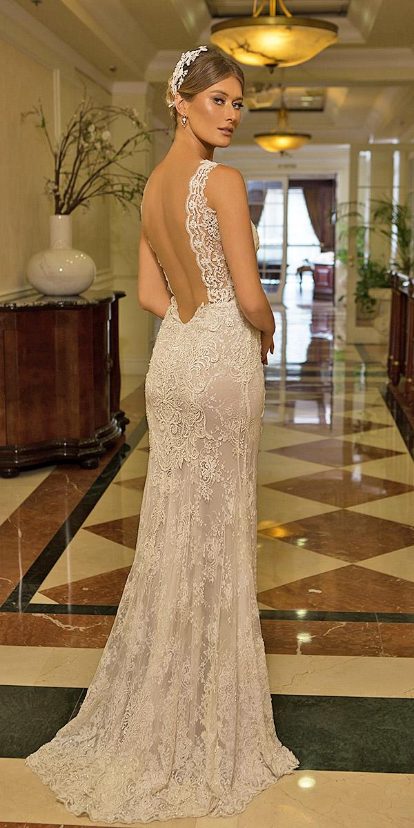 naama anat wedding dresses sheath low back lace floral embellishment