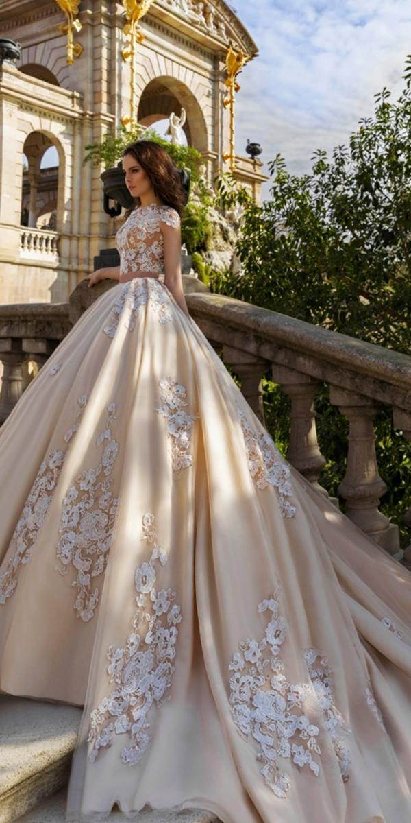 nude a line with embroidered lace and bateau neck with cap sleeves and with long train crystal design wedding dresses