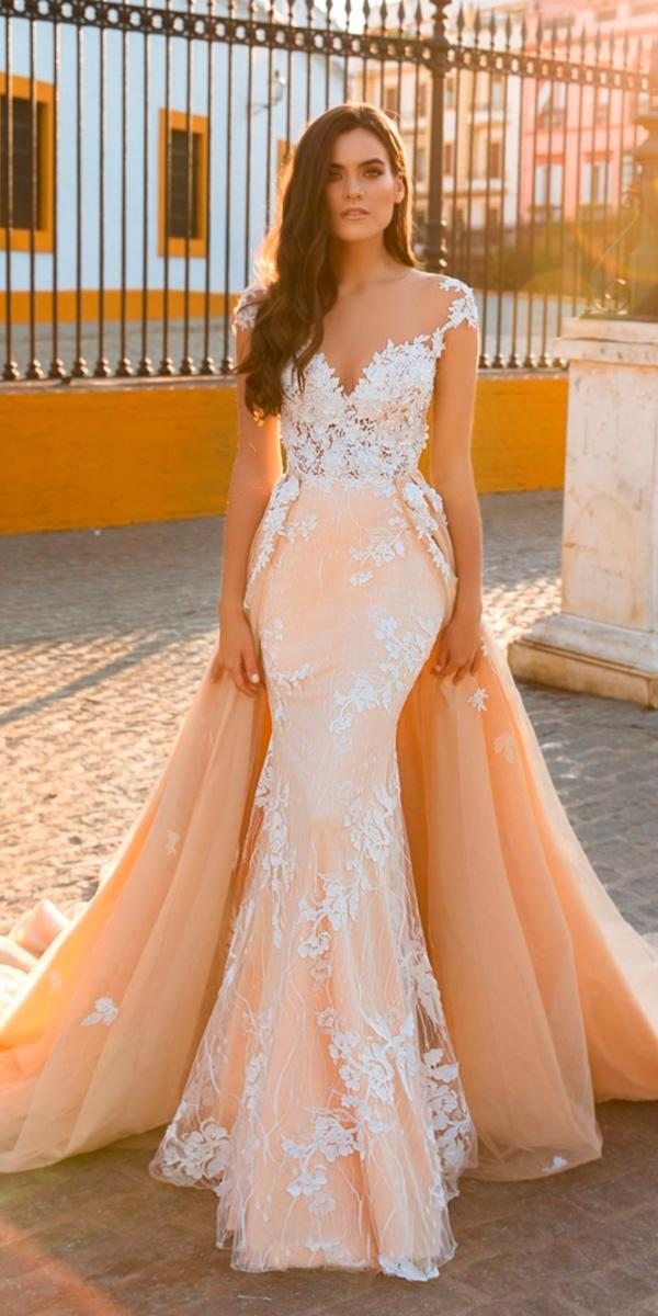 30 brilliant crystal design wedding dresses wedding dresses guide blush mermaid with over skirt and sweetheart and lace straps with train crystal design wedding dresses junglespirit Images