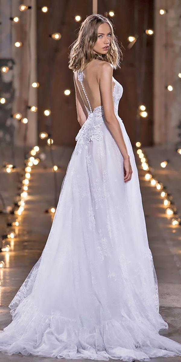 nurit hen wedding dresses a line lace with open back