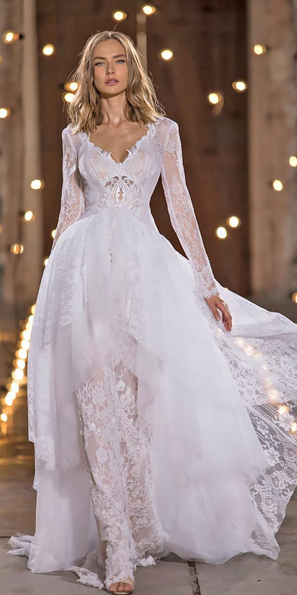 nurit hen wedding dresses ball gown lace v neckline with long sleeves