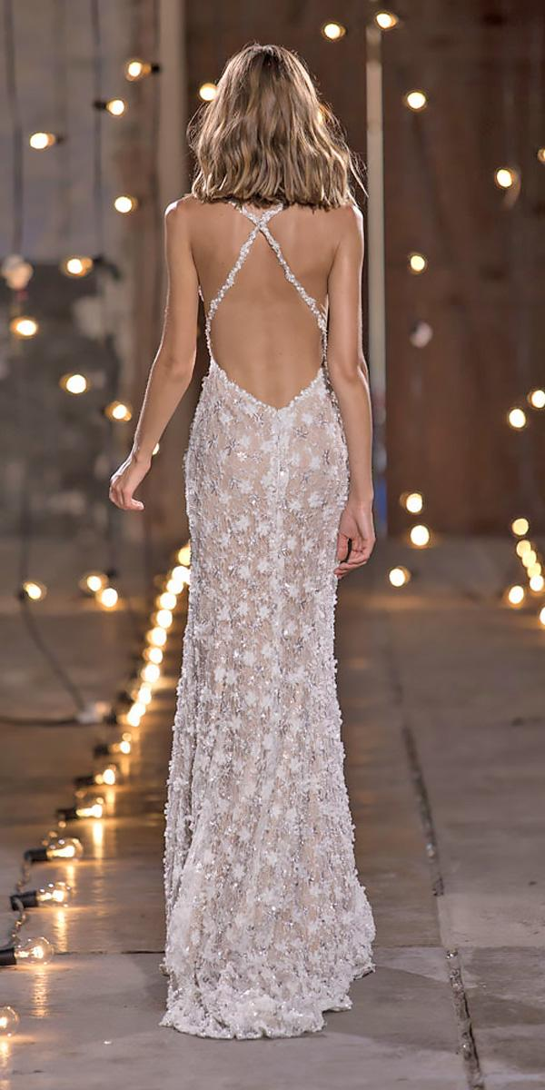 nurit hen wedding dresses sheath lace x cross low back
