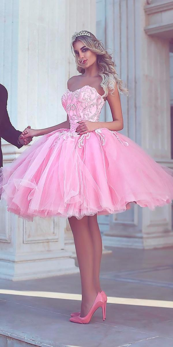 pink short strapless sweetheart beach wedding dresses said mhamad